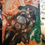 Das rote Motorrad auf stabilem Leinkarton. Sketch Art (weniger Details. Semi realistisch) Größe: 24x18 cm² Preis: 75,-€