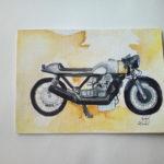 Gelbe Guzzi Aquarell auf Postkarte, Stärke 250g/m² Größe: 10,5x14,8 cm  Realismus/detailiert Preis: 90,-€